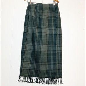 Lauren Ralph Lauren Olive Plaid Wrap Blanket Skirt